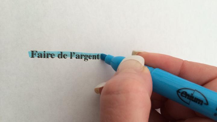 Écrire en bleu